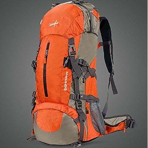 optuny Outdoor grande capacità di uomini e donne Ultra-Light impermeabile offload dell' arrampicata di traspirante da viaggio Zaini, Arancione, aggiornamento 60L + parapioggia