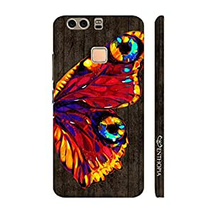 Enthopia Designer Hardshell Case Butterfly on a Brown Wall Back Cover for Huawei P9 Plus