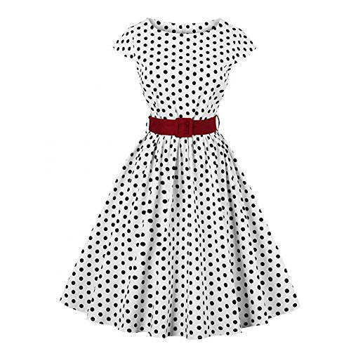 Elegante Dame Polka Dots Kleid, Vintage Rundkragen Flügelärmeln Cocktail Party Swing Dress(4XL) Dot Kleid
