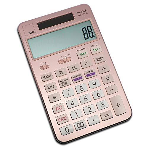 mts fn-X88 OFFICE Taschenrechner Calculator Tischrechner Büro Rechner Steuer Tax MwSt USt großes Display XL edel exklusiv Metall Aluminium 4 Farbvarianten schwarz gold silber pink rosa (roségold)