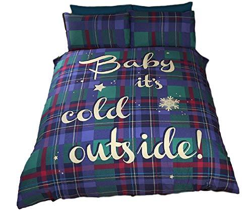 Weihnachten Tartan prüfen, Baby es kaltes blau grün rot einzigen Bettbezug -