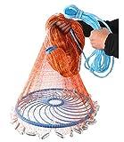Myself-fishing net Rete per Pesci Koi Manufatti da Pesca Reti da Pesca Dischi Grandi Circolari Attrezzo Automatico Facile da Gettare Decorazione Stagno Rotante Heavy Duty Bait Pieghevole Portatile
