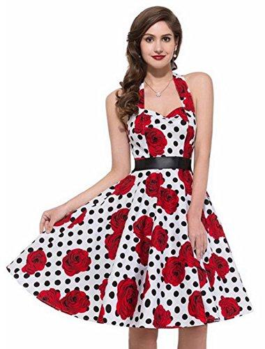 Eudolah Retro Design mid gonna back to 1950 vintage A-Line stile Audrey Hepburn rosa-bianco