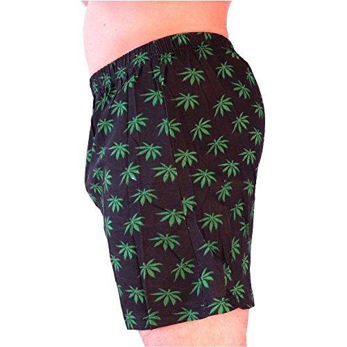 HERREN BOXERSHORTS l Unterhosen Shorts Slips l Rockabilly Totenkopf  Marihuana l in 4 FARBEN l 100