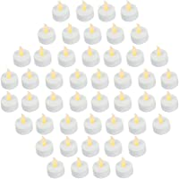 Bargain Outlet (Pack of 48) Realistic and Bright Battery Operated Flickering Flameless Tea Light Led Candles, Batteries Included - Yellow