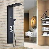 Auralum® Pannello colonna doccia idromassaggio in acciaio 4 funzioni set doccia completo con Soffioni doccia + ABS doccia a mano soffione (Nero A)