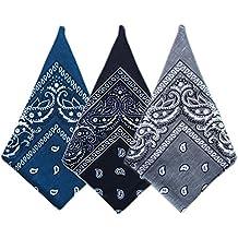 3 Piezas Pañuelo Bandana, Bufanda Cuadrada Multifuncional Algodón Diadema Hip Hop Headwrap Sombreros Hombres Mujeres al aire Libre Deporte Cuello Pañuelos (Color B)