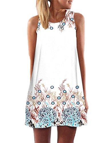 YOINS Sommerkleid Damen Kurz Sexy Kleid Elegant Strandkleid Schulterfrei Blumenmuster Ärmellos Minikleider -