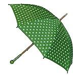2. Wahl - Schirm grün weiße Punkte - Kinderschirm Kinder Stockschirm Regenschirm - gepunktet Punkt Mädchen 90 cm
