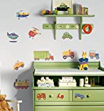 RoomMates Repositionable Childrens Wall Stickers Transport