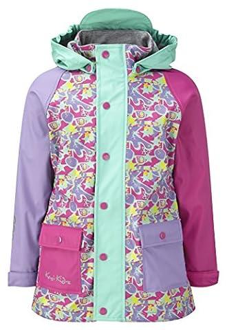 Kozi Kidz Girl's Lined Rain Coat - Pink Candy Print, 80 cm