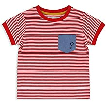 The Essential One Bebé infantil Niños T-Shirt/Camiseta A Rayas - Rojo/Blanco - EOT401