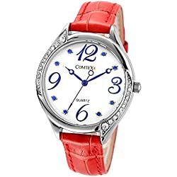 Comtex Women's Quartz Watch with Red Leather Wrist Watch 30m Water Resistant