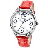 Comtex Damen Armbanduhr Analog Quarz mit Leder Armband SYM140128R-BLU Rot