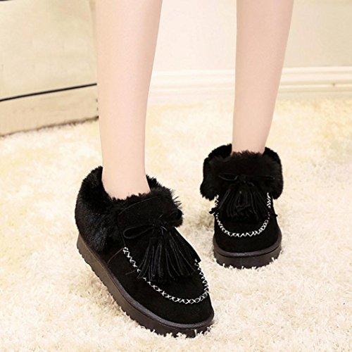 Transer® Damen Warm Weich Mokassins Casual Schuh Baumwolltuch+Plastik (Bitte achten Sie auf die Größentabelle. Bitte eine Nummer größer bestellen. Vielen Dank!) Black
