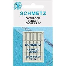 Schmetz - Agujas para máquinas de coser Overlock ELx705CF 80/12 SUK ...
