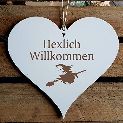 ch Willkommen » ca. 13 x 12 cm - mit Motiv Hexe - Türschild Dekoschild Geschenk - Hexen Wicca Halloween Walpurgisnacht ()
