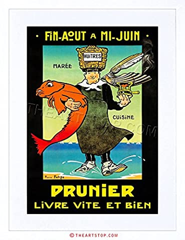 AD FOOD SEAFOOD OYSTER PRUNIER FRANCE CUISINE FRAMED PRINT F97X2302