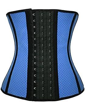 FeelinGirl - Corsé de moldeamiento de cintura para mujer, látex Blau mit Loch