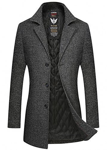 YOUTHUP Herren Wollmischung Mantel Slim Fit Warmbody Winter Jacke