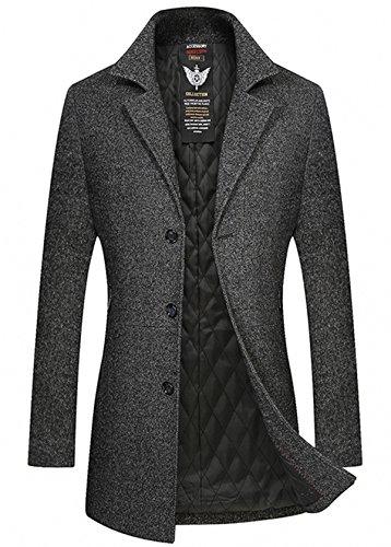 Homme Hiver Manteau Long Trench-Coat Chaud Veste Slim Fit Casual en Laine Caban mode élégant