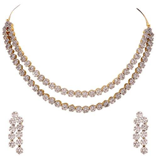 Ratnavali Jewels American Diamond CZ Gold Plated D...