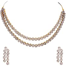 Kaleera American Diamond CZ Gold Plated Designer Jewellery Set/Necklace Set with Chain & Earring for Girls/Women (KLA102)