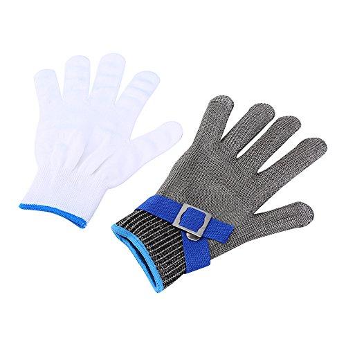Schnittschutzhandschuhe Handschuhe Schnittfest aus Edelstahl Metall Netzgewebe 1 Stück Passend für Beide Rechte und Linke Hand Schutzgrad 5 (XL)