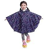 De feuilles Kids Hooded Rain Poncho Waterproof Lightweight Raincoat with Hood for Baby Boys Girls