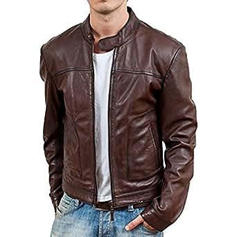 Iftekhar Men's Pure leather Jacket - Brown - (Iftekhar35 - L)