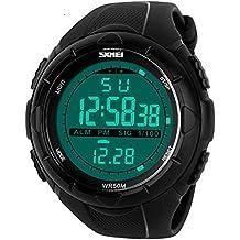 Skmei hombres de ocio deporte digital pantalla LCD alarma semana Cronógrafo Multifunción muñeca watch-black