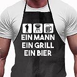 Shirtoo Grillschürze - EIN Mann - EIN Grill - EIN Bier, Lustiges Geschenk für Männer und Grillmeister