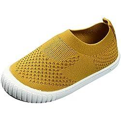 YWLINK Ropa De NiñOs Zapatos Bebé NiñAs Malla Tejida Se Enfrentan A Las Zapatillas Deportivas Transpirables Casuales Primer Paso Zapatos Caseros Bautismo Antideslizante Casual Fiesta(Amarillo,23EU)