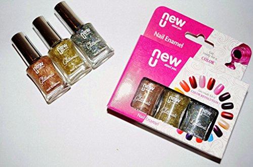 NewU Nail Enamel Glitterati Gold Dust + Autumn Glow + Silver Chrome