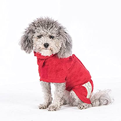 Ruff and Tumble Dog Drying Coat - Classic Collection (XXXS, Brick Red) 5