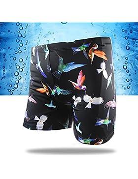 HAIYOUVK Men'S Handsome Swimming Shorts Comfort Beach Shorts Boxer Swim Shorts Hot Spring Vacation,Xl,Black,Xl...