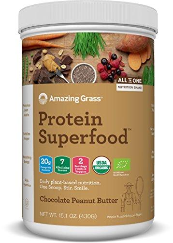 amazing grass burro d'arachidi e cioccolato, 440g | proteine vegetali complete con verdure e frutta