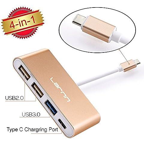 Convertitore adattatore multiporta USB-C USB 3.0Tipo C Hub per nuovo MacBook, ChromeBook Pixel, Nokia N1, Nexus 6/6P e altri dispositivi Type-C Hub 1porta di ricarica USB C e 3Porte USB a