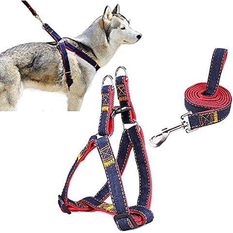 Arnés del animal doméstico, perro lleva Ambielly Jean Correa No-Pull perro / gato con la seguridad del perro hebillas de liberación rápida del arnés de la correa de cadena de la cuerda del vaquero (rojo, M)