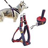 Ambielly Pet Harness, Jean Hund führt No-Pull Hund/Katze-Leine mit Schnellverschlüssen Dog Sicherheitsgurt Cowboy-Bügel-Seil-Kette (M, Red)