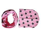 Bodhi2000, set di cappellino e sciarpa circolare per bambini piccoli, delizioso motivo a stelle rosa Taglia unica