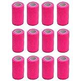 Vendaje autoadhesivo (12rollos) de 10cm x 4,5m, para primeros auxilios, deportes, vendas, animales, de Cobox, rosa