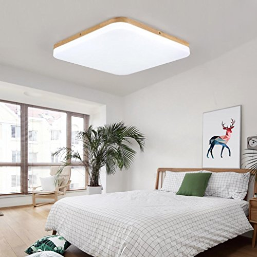 Moderne Task-lampe (GAOHAILONG LED Massivholz Deckenleuchte Acryl Lampenschirm Schlafzimmer Wohnzimmer Moderne Kreative Platz Dekoration Lampen, White Light, 43cm)