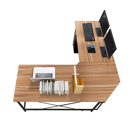 Soges Eckschreibtisch L(150+150) * W55 * H76cm L Schreibtisch Winkelschreibtisch PC Bürotisch Computertisch Arbeitstisch, CS-ZJ02-OK