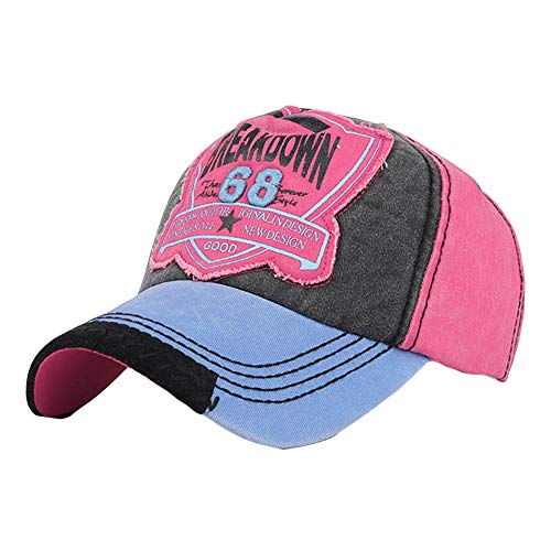 Qmber Basecap Cap Capy Größe Unisex Baseballcap Sportcap Kappen Einheitsgröße Baseballkappe Outdoor Cap Lauf Mütze Herren Damen Quick Drying Washed gewaschen getragen Stickerei/Hot Pink