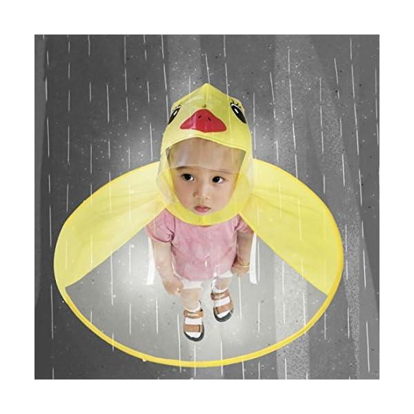 Sencillo Vida Chubasquero Niños, Impermeable Chaqueta de Lluvia con Capucha, Diseño de Pato, Plegable, Raincoat Niño… 3