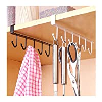 Fliyeong Premium 1pc Tea Cup Mug Holder Under Shelf Cup Hanger Drying Rack 6 Hooks Towel Holder Cabinet Organizer white