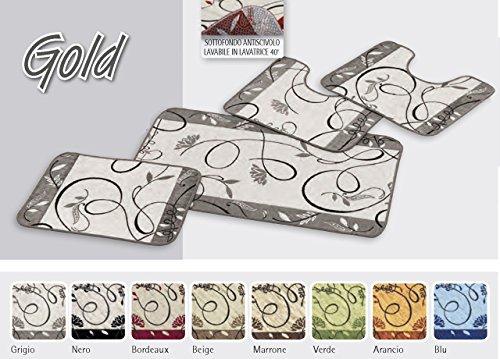 Tappeto da bagno disegno gold 55x120 grigio