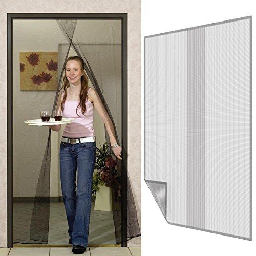 Fliegengitter für Türen 140 x 220 cm in anthrazit 2 Bahnen Fliegennetz aus Polyester mit Klebeband