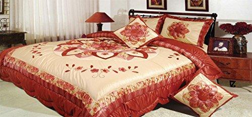 Dada Betten bm465l Sunset Rubine Polyester Patchwork 5tlg Tröster Set, Polyurethan, burgunderfarben, King - Tröster Clearance Sets Twin